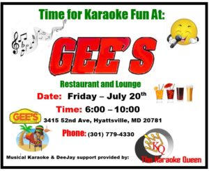 Karaoke Friday With The Karaoke QueenDeejay! @ Jamaica GEE's  | Hyattsville | Maryland | United States