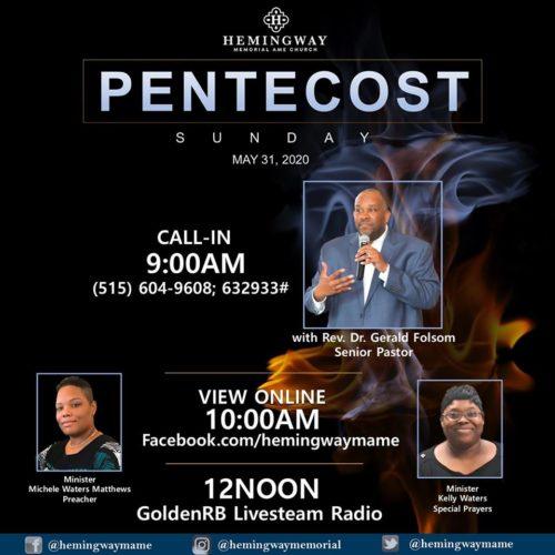 Hemingway Pentecost Sunday 2020